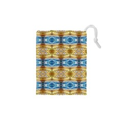 Gold And Blue Elegant Pattern Drawstring Pouches (xs)