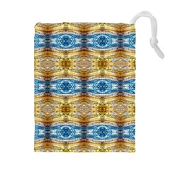 Gold And Blue Elegant Pattern Drawstring Pouches (Extra Large)