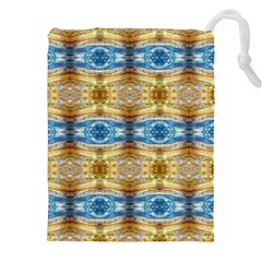 Gold And Blue Elegant Pattern Drawstring Pouches (XXL)