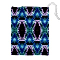 Blue, Light Blue, Metallic Diamond Pattern Drawstring Pouches (XXL)