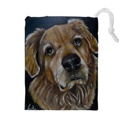 Selfie of A Golden Retriever Drawstring Pouches (Extra Large)