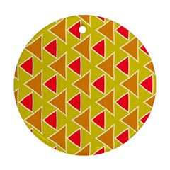 Red Brown Triangles Patternornament (round)