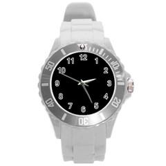 Black Gothic Round Plastic Sport Watch (L)