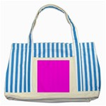 Trendy Purple  Striped Blue Tote Bag  Front