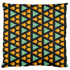 Green Triangles And Other Shapes Pattern 	large Flano Cushion Case (two Sides)
