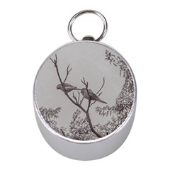 Couple Of Parrots In The Top Of A Tree Mini Silver Compasses
