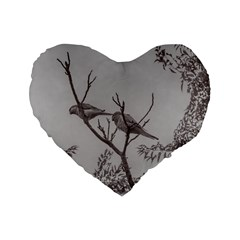 Couple Of Parrots In The Top Of A Tree Standard 16  Premium Flano Heart Shape Cushions