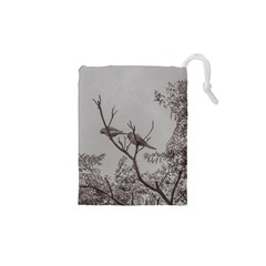 Couple Of Parrots In The Top Of A Tree Drawstring Pouches (XS)