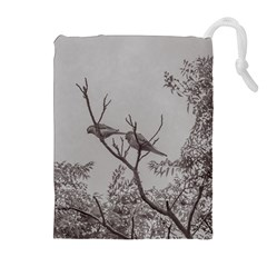 Couple Of Parrots In The Top Of A Tree Drawstring Pouches (Extra Large)