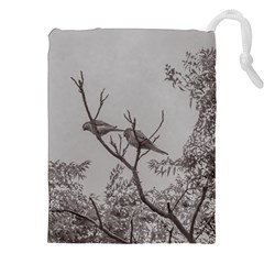 Couple Of Parrots In The Top Of A Tree Drawstring Pouches (XXL)