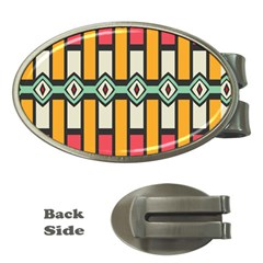 Rhombus And Stripes Pattern money Clip (oval)