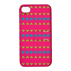 Hearts And Rhombus Patternapple Iphone 4/4s Hardshell Case With Stand