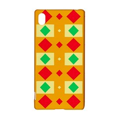 Green red yellow rhombus pattern			Sony Xperia Z3+ Hardshell Case