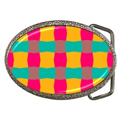 Distorted Shapes In Retro Colors Pattern belt Buckle