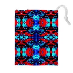 Red Black Blue Art Pattern Abstract Drawstring Pouches (Extra Large)