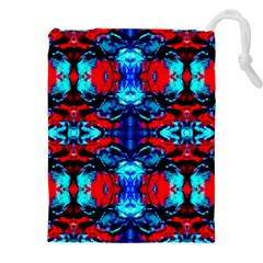 Red Black Blue Art Pattern Abstract Drawstring Pouches (XXL)