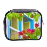 Colored Flowers In Front Ot Windows House Print Mini Toiletries Bag 2-Side Back