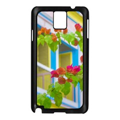 Colored Flowers In Front Ot Windows House Print Samsung Galaxy Note 3 N9005 Case (black)