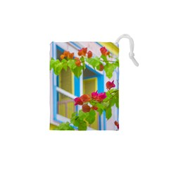 Colored Flowers In Front Ot Windows House Print Drawstring Pouches (XS)
