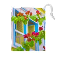 Colored Flowers In Front Ot Windows House Print Drawstring Pouches (Extra Large)