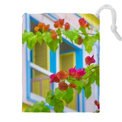Colored Flowers In Front Ot Windows House Print Drawstring Pouches (XXL)