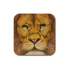 Regal Lion Drawing Rubber Coaster (square)