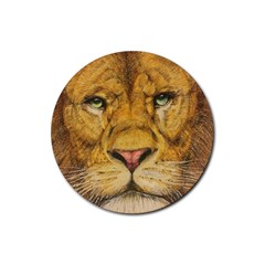 Regal Lion Drawing Rubber Coaster (round)