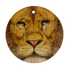 Regal Lion Drawing Round Ornament (two Sides)