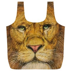 Regal Lion Drawing Full Print Recycle Bags (l)
