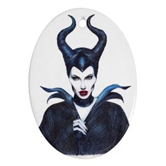 Maleficent Drawing Oval Ornament (two Sides)