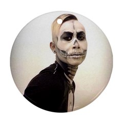 Halloween Skull And Tux  Round Ornament (two Sides)