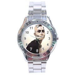Halloween Skull And Tux  Stainless Steel Men s Watch