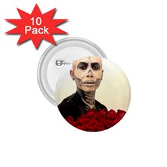 Halloween Skull Tux And Roses  1 75  Buttons (10 Pack)