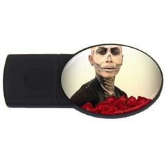 Halloween Skull Tux And Roses  Usb Flash Drive Oval (2 Gb)