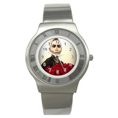 Halloween Skull Tux And Roses  Stainless Steel Watches