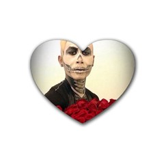 Halloween Skull Tux And Roses  Heart Coaster (4 Pack)