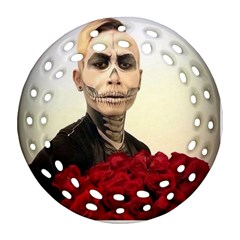 Halloween Skull Tux And Roses  Round Filigree Ornament (2side)