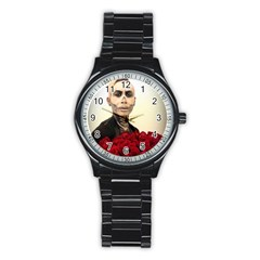 Halloween Skull Tux And Roses  Stainless Steel Round Watches
