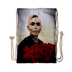 Halloween Skull Tux And Roses  Drawstring Bag (small)