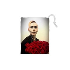 Halloween Skull Tux And Roses  Drawstring Pouches (XS)
