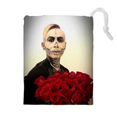 Halloween Skull Tux And Roses  Drawstring Pouches (Extra Large)