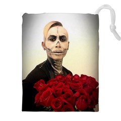 Halloween Skull Tux And Roses  Drawstring Pouches (XXL)