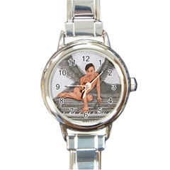 Angel And The Piano Drawing Round Italian Charm Watches
