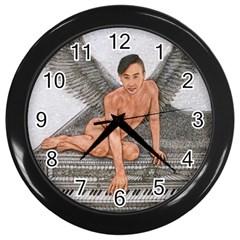 Angel And The Piano Drawing Wall Clocks (black)