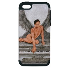 Angel And The Piano Drawing Apple Iphone 5 Hardshell Case (pc+silicone)
