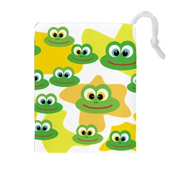 Cute Frog Family Whimsical Drawstring Pouches (extra Large)