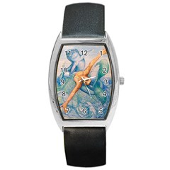 Zodiac Signs Pisces Drawing Barrel Metal Watches