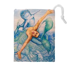 Zodiac Signs Pisces Drawing Drawstring Pouches (Extra Large)