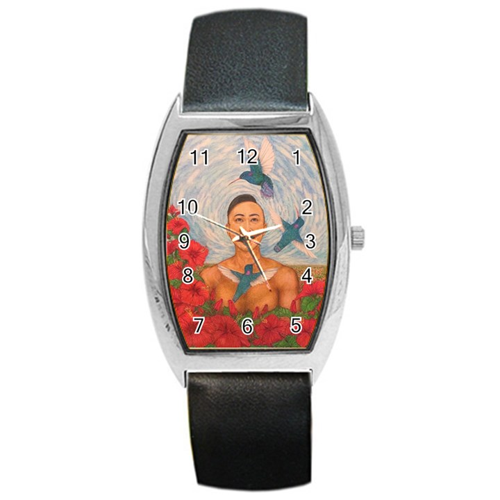 Spring Amazed By The Hummingbirds Drawing Barrel Metal Watches