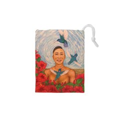Spring Amazed By The Hummingbirds Drawing Drawstring Pouches (XS)